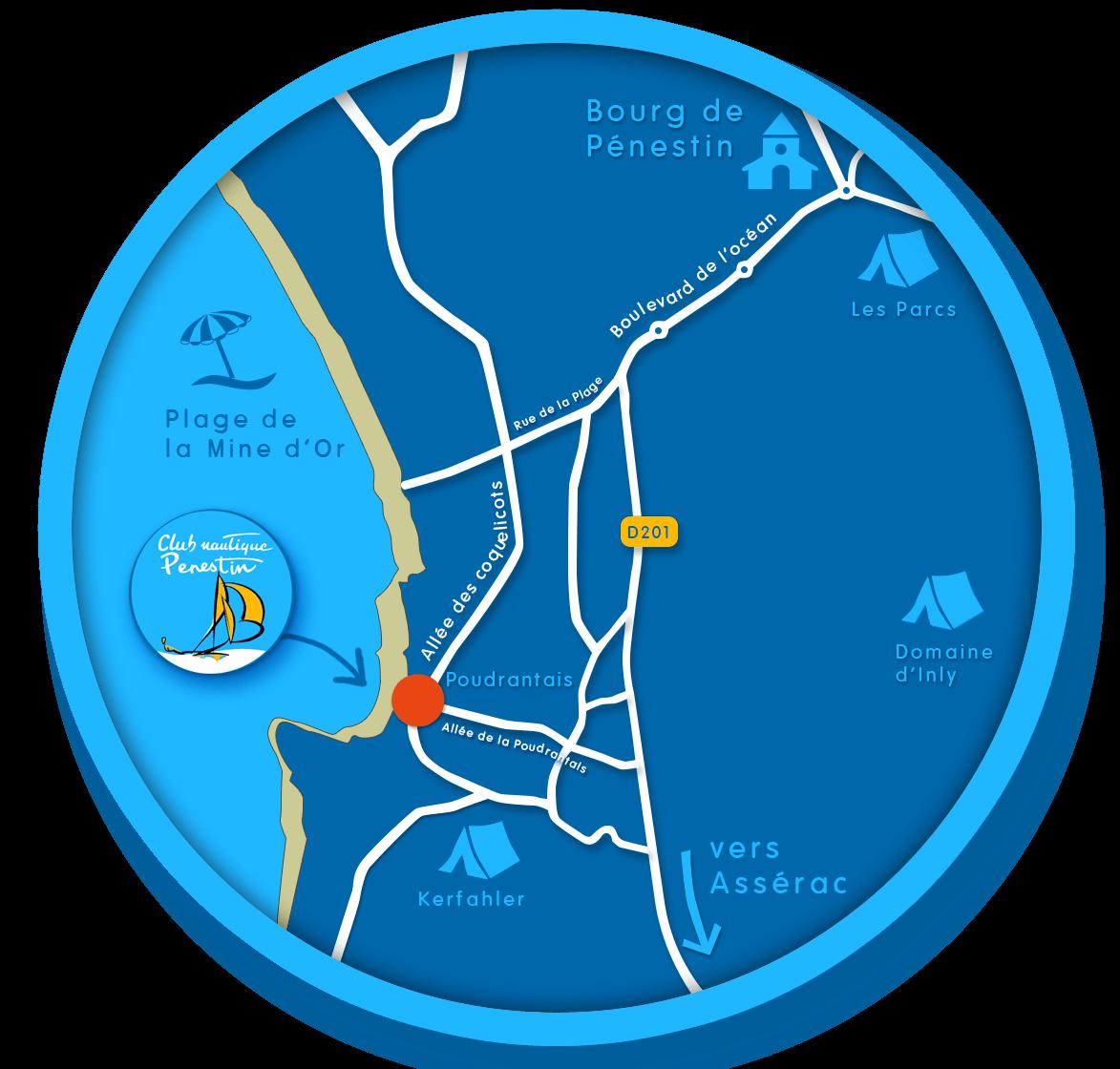 plan d'accès centre nautique de pénestin, Morbihan